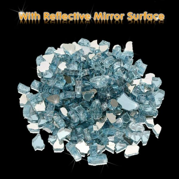 1 2quot; Reflective Tempered Fire Glass Fireplace Glass Fire Pit Glass Blue 10 LBS