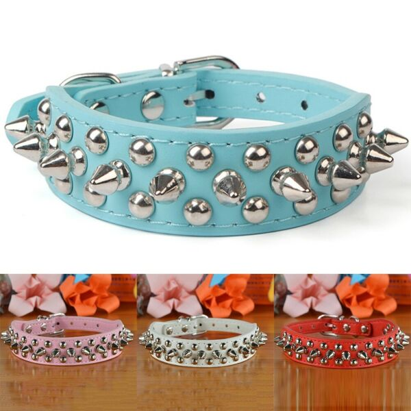 Small Dog Spiked Studded Rivets Cat Pet Faux PU Leather Collar Neck Straps $7.33