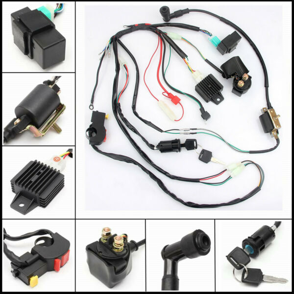 CDI Wiring Harness Loom Solenoid Rectifier for 50CC 110cc Pit Quad Dirt Bike ATV $29.99