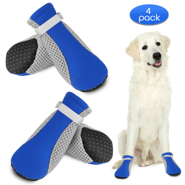 4Pcs Pet Shoes Anti Slip Breathable Puppy Boots Small Dog Shoes Protective Paw $8.98