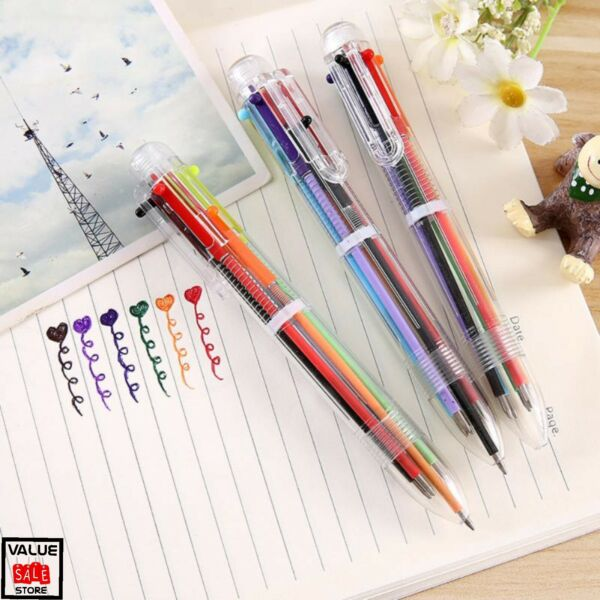 Multi color 6 in 1 Color Ballpoint Pen Ball Point Pens Office Supply Kids School