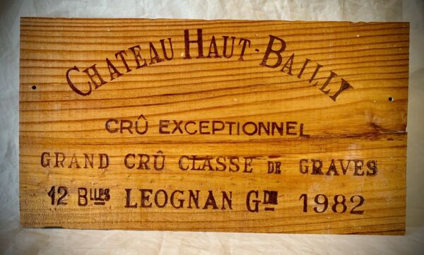 1982 Chateau Haut Bailly Wood Wine Crate Box Side Panel