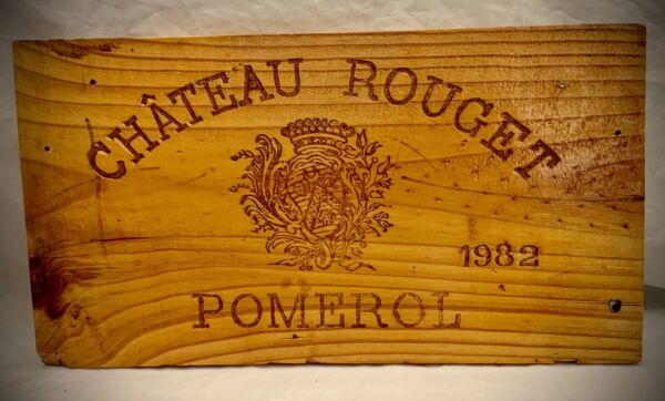 1982 Chateau Rouget Pomerol Wood Wine Crate Box Side Panel
