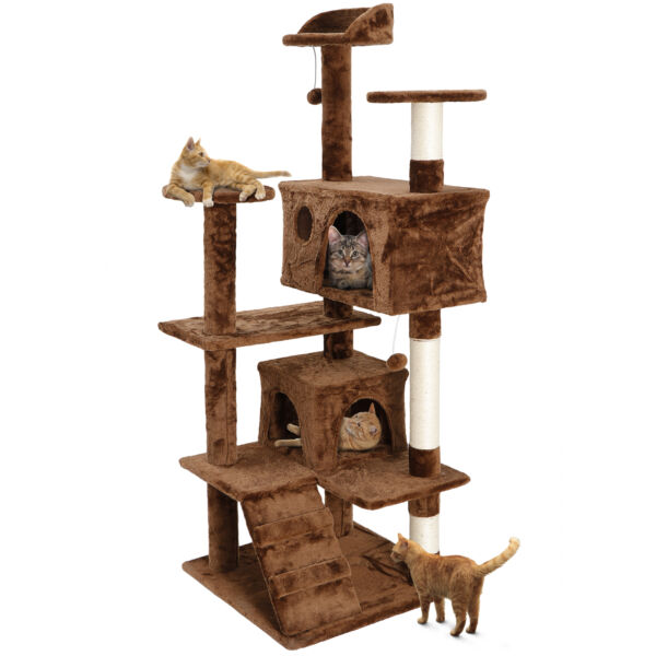 53quot; Cat Tree Activity Tower Pet Furniture Sisal Covered Scratch Post Cat Bed $56.99