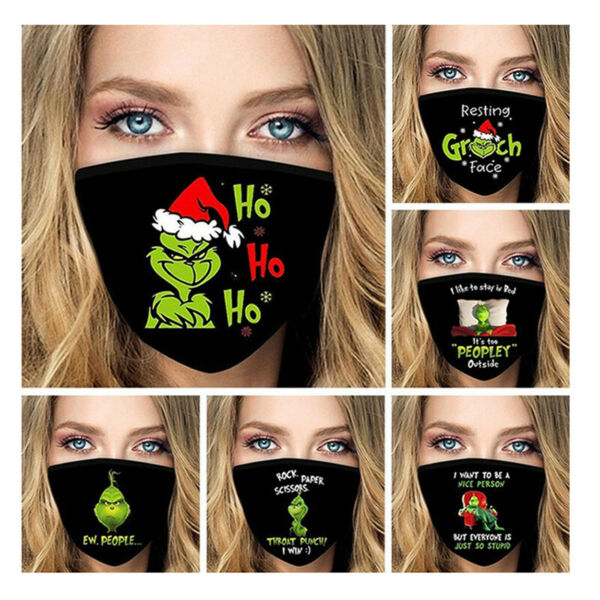6x Mask Grinch Face Mask Funny Reusable Washable Christmas Printed Adult Unisex $11.99