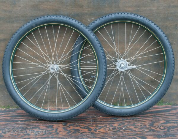 26quot; Green Prewar Bicycle WHEELS Vintage CWC New Departure Hub Schwinn Bike Tires $475.00