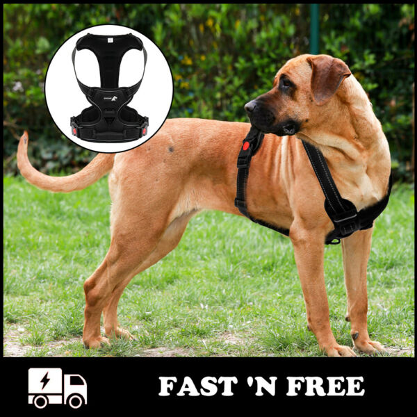 Large Size Dog Control Harness Reflective Dog Walking Harness Black Strong Duty $13.69