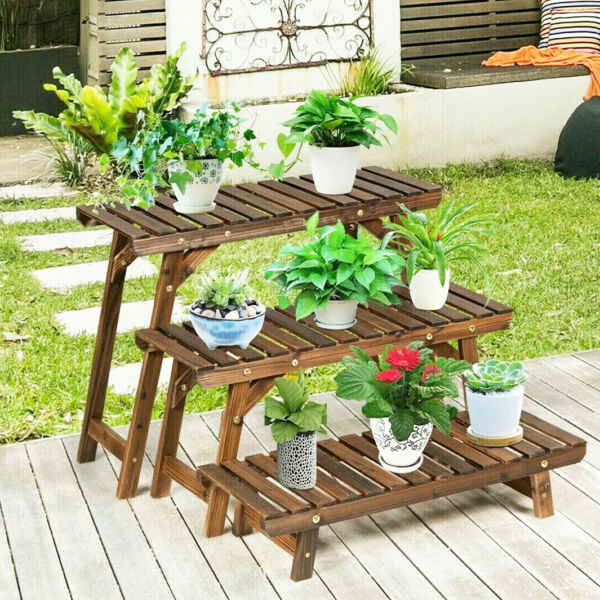 Large Wood Tier Shelf Flower Plant Display Stand Rack Freestanding Movable Bench