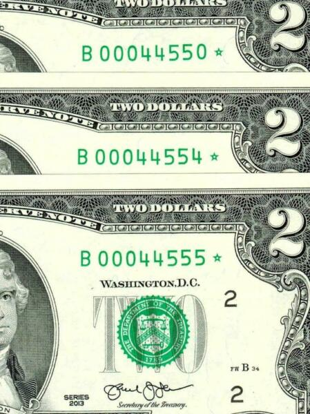 FIVE DIGIT ** STAR ** $2 2013 Fancy Serial # 44550* 44554* 44555* $100.00