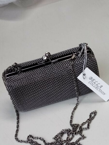 BELLA COLLECTION Women Junior Silver Clutch Purse Handbag in Hardcase