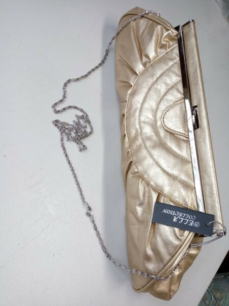 BELLA COLLECTION Womens Juniors Large Gold Clutch Purse Bag