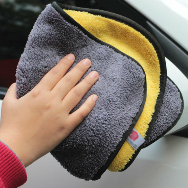Double Sided Thickened Soft Absorbent Coral Velvet Microfiber Car Cleaning Towel $2.79