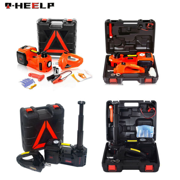 Car Jack Lift 12V 5Ton Electric Hydraulic Floor Jack Impact Wrench Tire Tool Kit $142.96