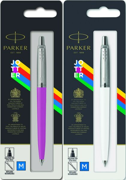 Parker Jotter Ballpoint Pen Set Stainless amp; White amp; Purple France New In Pak