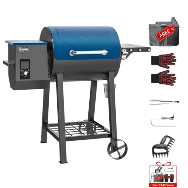 ASMOKE 8 In 1 Wood Pellet Grill BBQ Smoker Patio Grilling with Digital Control