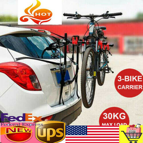 Iron Car Bicycle Rack Hold 3 Bikes Trunk Bike Rack Roof Sucker Carrier Holder $37.70
