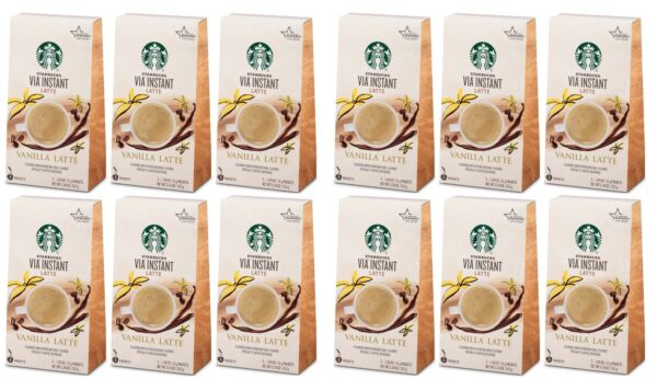 12 Boxes Starbucks VIA Instant Latte Vanilla 5 Packets Each 60 Total BBD 8 2020