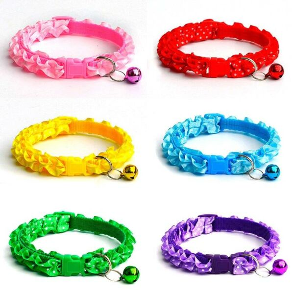 Dog Puppy Cute Dots Print Buckle Collars with Bell Adjustable for Small Pets $1.29