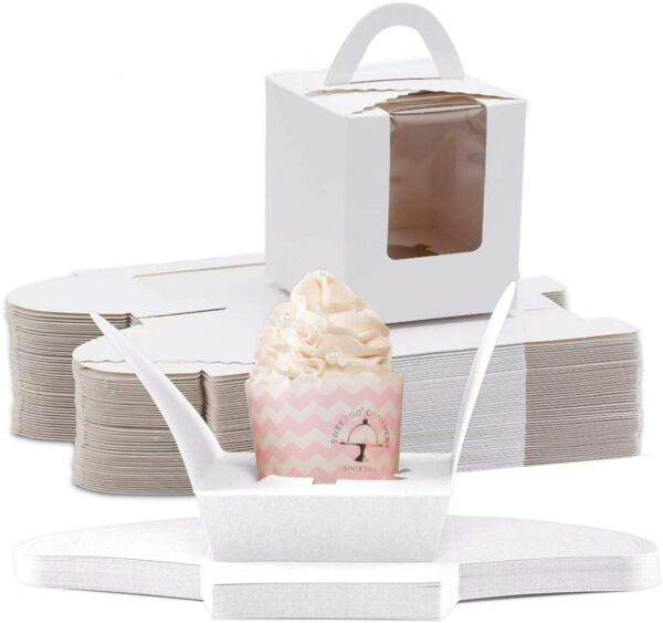 60pcs White Single Cupcake Boxes Carrier with Window Inserts for Bakery Wrapping