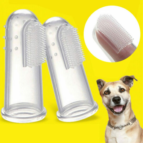2X Dog Cat Brush Silicone Finger Toothbrush Pet Teeth Care Soft Cleaning Supply $5.99