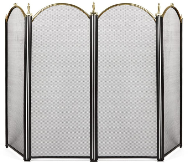 Large Gold Fireplace Screen 4 Panel Ornate Wrought Iron Black Metal Fire Place S