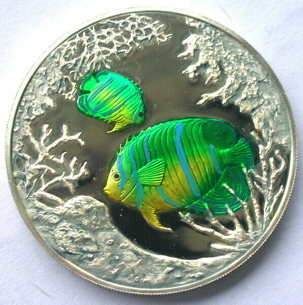 Turks Caicos 1999 Coral Fish 20 Crowns 1oz Silver CoinProof $73.80