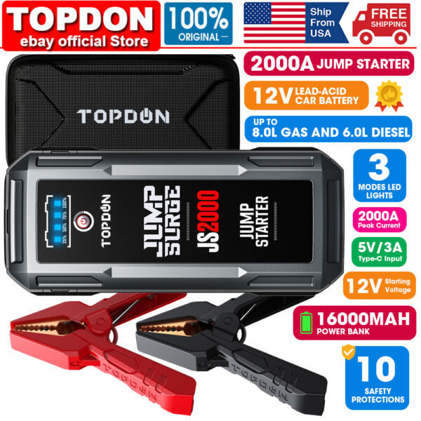 Portable 12V Auto Battery Jump Starter Car Jumper Box Power Bank Booster Charger $109.00