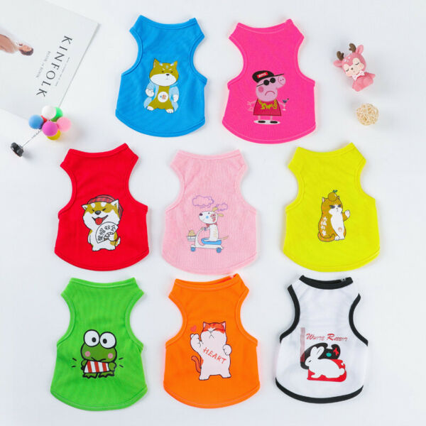 New Cartoon Small Dog Vest Puppy Clothes Breathable Mesh Vest Pet Cat Apparel $6.69