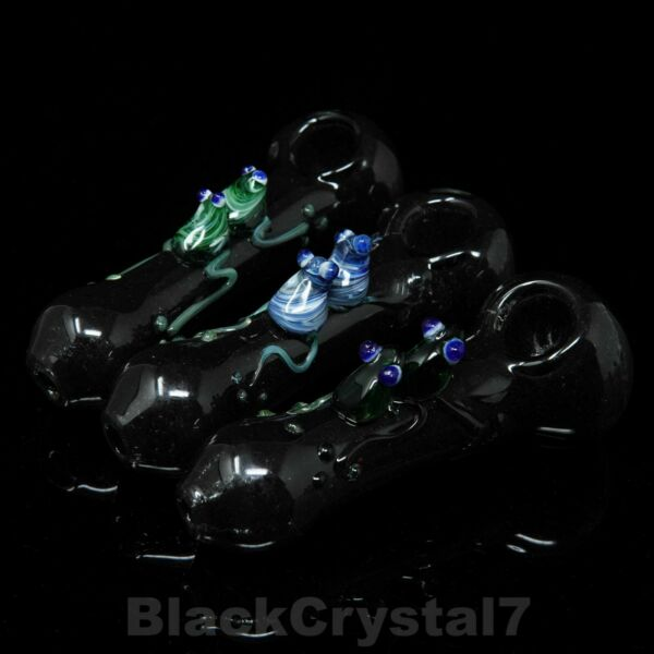 4.5 inch Handmade Piggy Backing Frogs Black Tobacco Smoking Bowl Glass Pipes