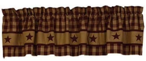 Cranberry Country Star Valance 72quot; Rustic Check Primitive Farmhouse Curtain $25.95