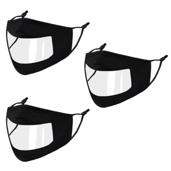 3 Pack Unisex Clear Window Black Face Mask Adjustable See Through Mask