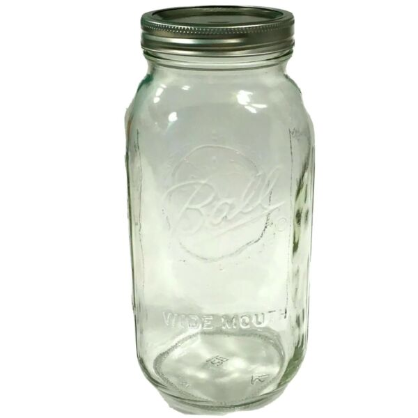 New Half Gallon Ball 64 oz Mason Jar Wide Mouth With Lid And Ring Never Opened