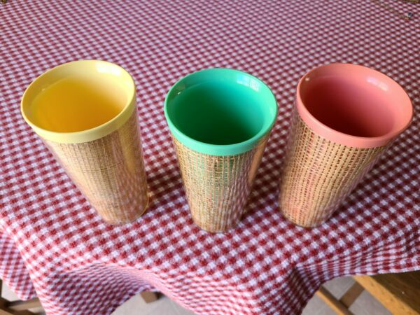 3 VINTAGE RAFFIAWARE 12 oz MULTI COLORED BURLAP CUPS TUMBLERS 6quot; tall