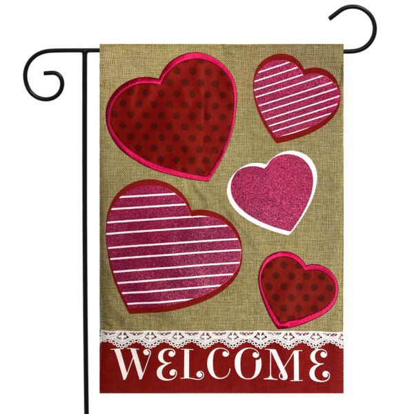 Hearts Valentine#x27;s Day Burlap Garden Flag Welcome Love 12.5quot;x18quot; Briarwood Lane