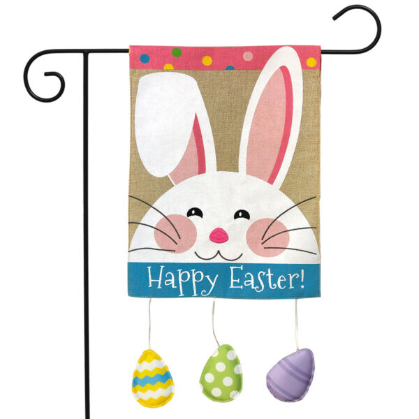 Happy Easter Bunny Burlap Garden Flag Eggs Holiday 12.5quot; x 18quot; Briarwood Lane
