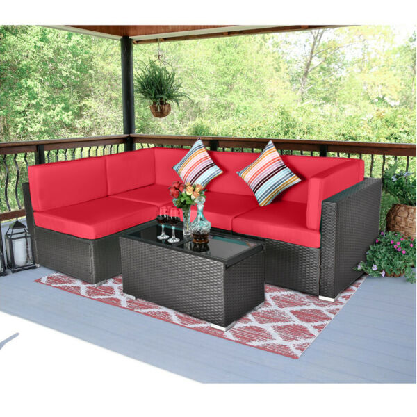 5PCS Outdoor Patio Sectional Furniture Sofa Set Rattan Wicker W Cooler Table