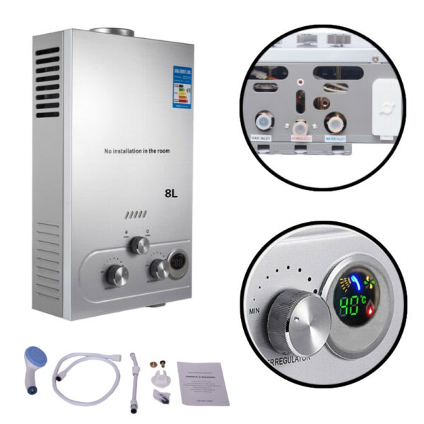 Marada Tankless Water Heater Natural Gas Adjustable Portable Indoor Outdoor RV $79.99
