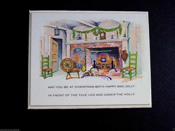 #E573 Unused Art Deco Xmas Greeting Card Old Fashion Fireplace amp; Cast Iron Pot