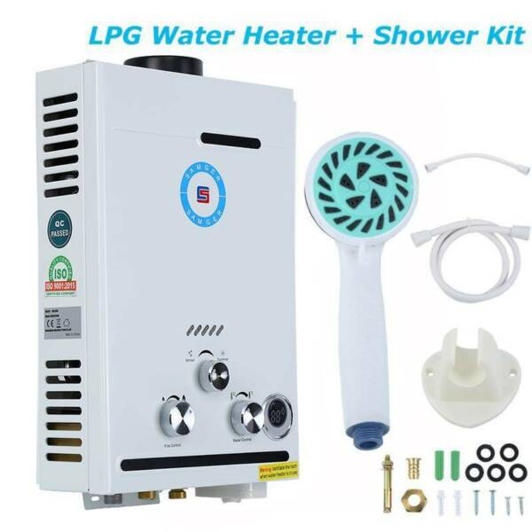 8L Tankless Hot Water Heater Instant Propane Gas Hot Boiler W Shower Kit $68.89