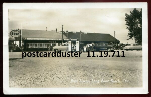 711 LONG POINT BEACH Ont 1940s Boat Livery ESSO Gas Station.Real Photo Postcard