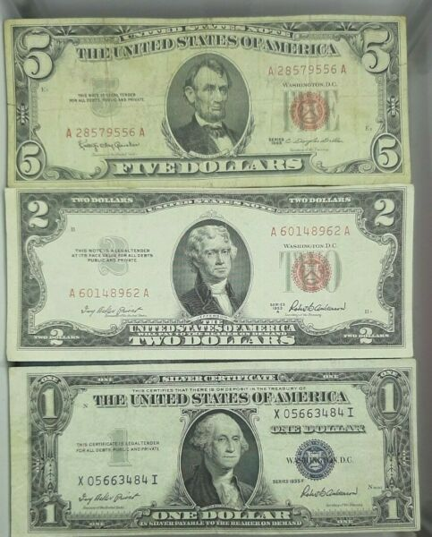 PAPER MONEY ESTATE LOT $1 BLUE SEAL $2 AND $5 RED SEAL Collection of Old Bills