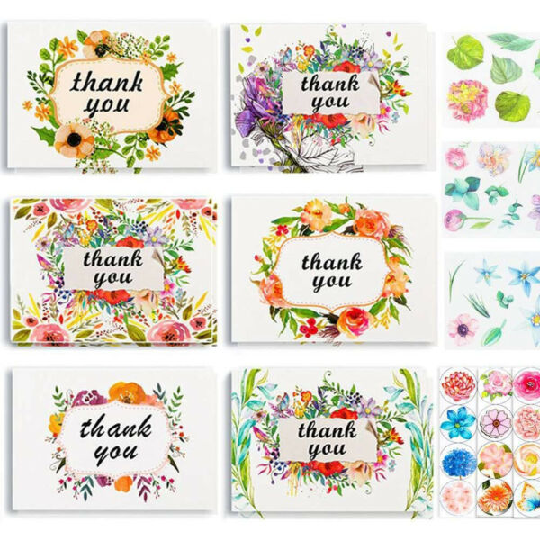 36 Pcs Floral Thank You Cards Bulk SetBlank Inside with Enveiopes for Wedding