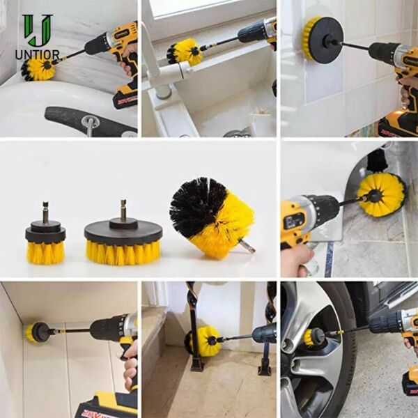 3X Drill Brush Power Scrubber Attachments For Carpet Tile Grout Home Cleaning