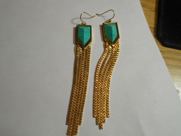 Vintage 4quot; Very Long Faux Turquoise gold Chain Dangle Pierced Signed V