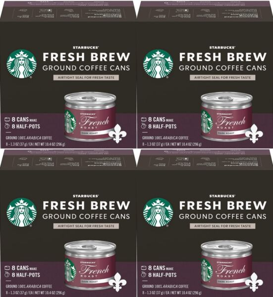 Starbucks Dark Fresh Brew Ground Cans French Roast 4 boxes 32 cans total 9 20