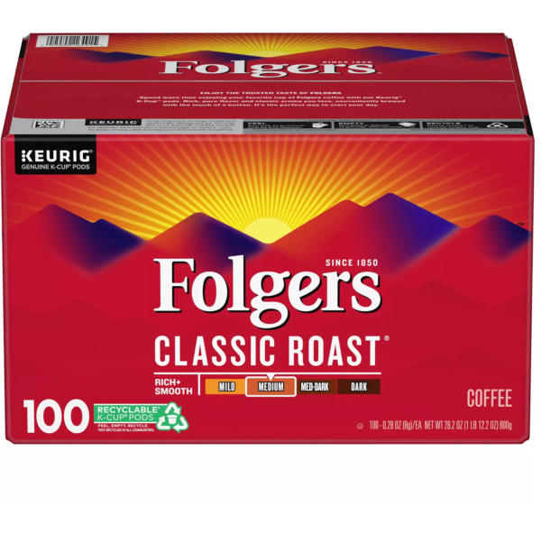 Folgers Classic Roast Coffee K Cups 100 ct Free Shipping