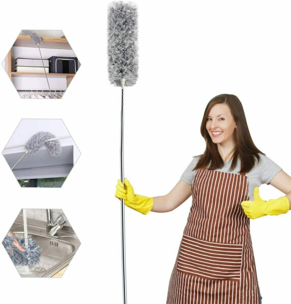 Microfiber Duster For Cleaning With Telescoping Extension Pole Extra Long 100
