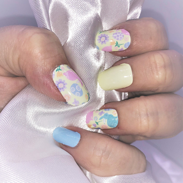 Spring Bunny blue and pink color real nail polish strips ZZ155 street art wraps $4.00
