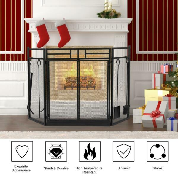 Fireplace Screen with Tools Metal Decorative Mesh Solid Iron Fire Place Panels