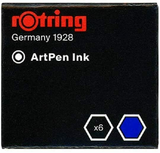 Rotring Fountain Pen Cartridges Blue 6 Cartridges New In Box S0194681